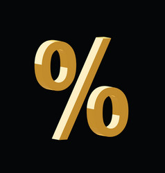 golden 3d percent symbol vector image