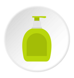 Green bottle with liquid soap icon circle vector