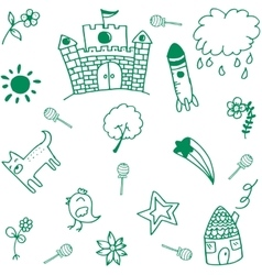 Green palace doodle vector