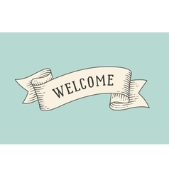 Greeting card with ribbon and word Welcome vector image