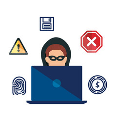 Hacker using laptop with security icons vector