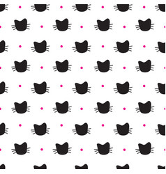 hand drawn cats seamless pattern vector image