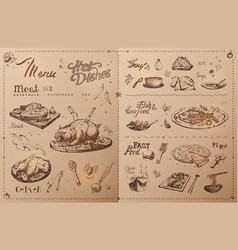 hand drawn meat dishes for menu design vector image