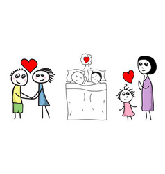 hand drawn story family in love vector image