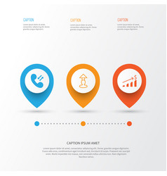 human icons set collection of call increase vector image