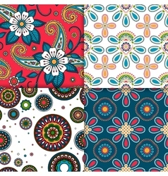 Indian colorful pattern set vector image