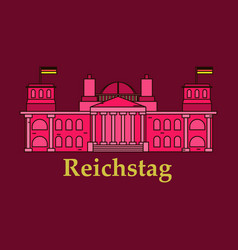 Line of reichstag building berlin germany vector