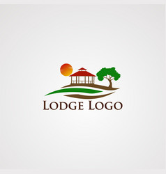 lodge logo with wave beautiful sun template vector image
