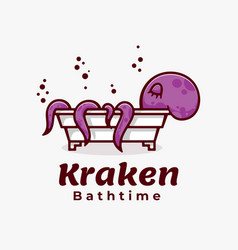 logo octopus bath time simple mascot style vector image