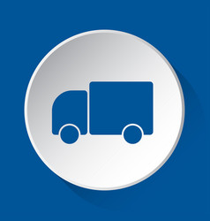 lorry car - simple blue icon on white button vector image