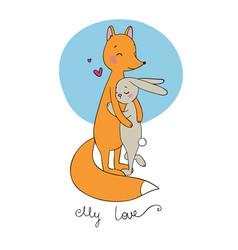 lovely cartoon fox and hare happy animals vector image
