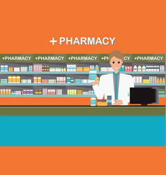 Male pharmacist at the counter in a pharmacy shop2 vector
