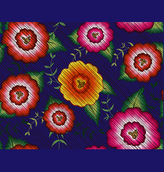 mexican floral embroidery seamless pattern textile vector image