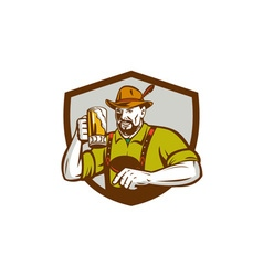 Oktoberfest Bavarian Beer Drinker Shield Retro vector