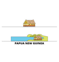 papua new guinea flat landmarks vector image