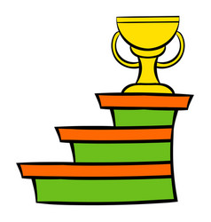 pedestal and winner cup icon icon cartoon vector image