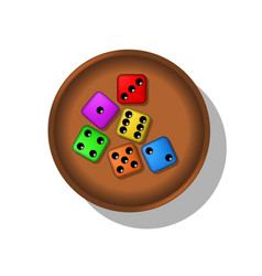 playing dices in a cup vector image