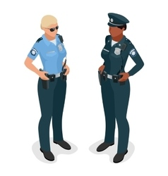 Policewoman in uniform Realistick flat 3d vector