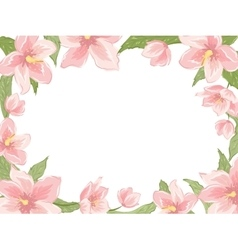 Rectangular border frame pink spring flowers white vector