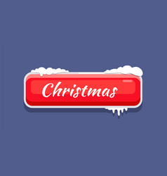 red christmas button with snow vector image