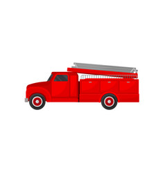 red fire truck emergency vehicle side view vector image
