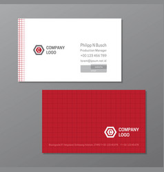 red line elegant name card template vector image