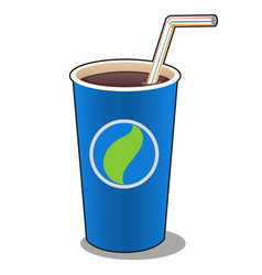 Refreshing drink in a blue paper cup with plastic vector