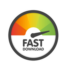 round speedometer fast download speed template vector image