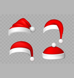 Santa claus hat 3d set realistic santa claus hat vector