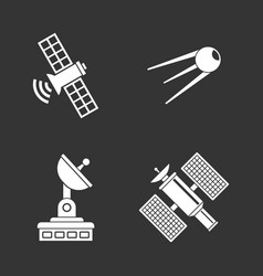satellite icon set grey vector image