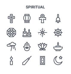 Set 16 spiritual concept line icons 64x64 thin vector