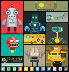 set cute flat robots set vector image