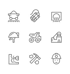 set line icons of coal vector image