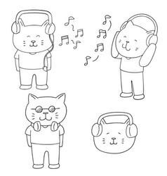 Set of cat listening music vector