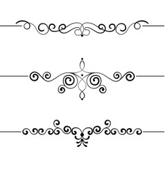 Set vintage decorative curls swirls monograms vector