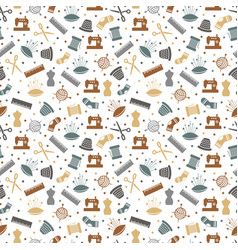 Sewing or knitting seamless pattern design vector