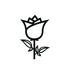 Simple black rose icon on white background vector
