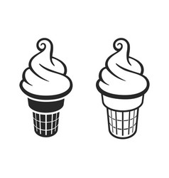 Simple fun soft serve ice cream in waffle cones vector