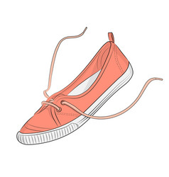 sketch summer coral sneakers on a white vector image