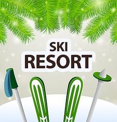 Ski resort skiing and poles vector image