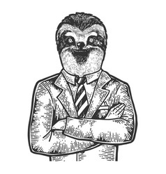 sloth businessman sketch engraving vector image
