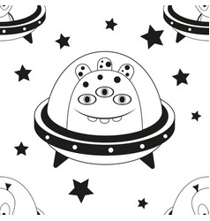 space monsters seamless pattern vector image