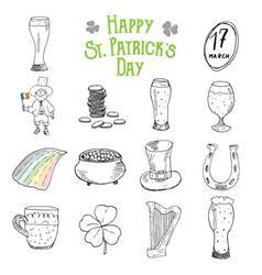 st patricks day hand drawn doodle icons set vector image