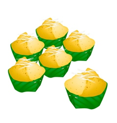 Stack of Toddy Palm Cake in Counts Banana Leaf vector