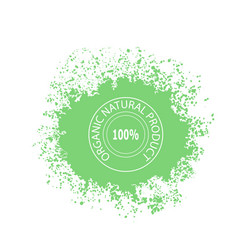 stamp for natural organic product on green blob vector image