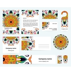 Stationery template design with indian mandalas vector