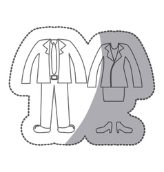 Sticker silhouette with formal suit clothing vector