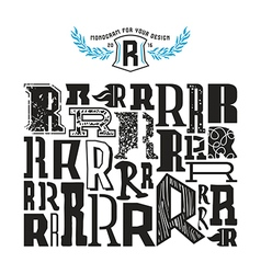 Stock set of monograms and initial letter r vector