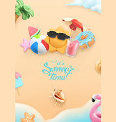 summer time background 3d realistic beach sun vector image