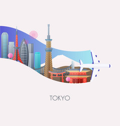 travel to tokyo traveling on airplane planning a vector image